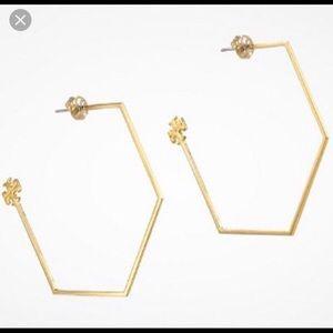 Tory Burch Gold Hexagon Hoop Earrings